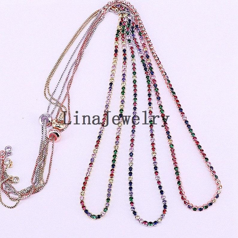 5Pcs High quality sparking rainbow cz tennis chain choker necklace fashion personality women collar jewellery