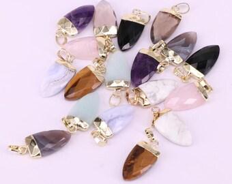 8Pcs Natural Stone Pendant Arrowhead Shape Charms Pendants For Jewelry Making Necklace