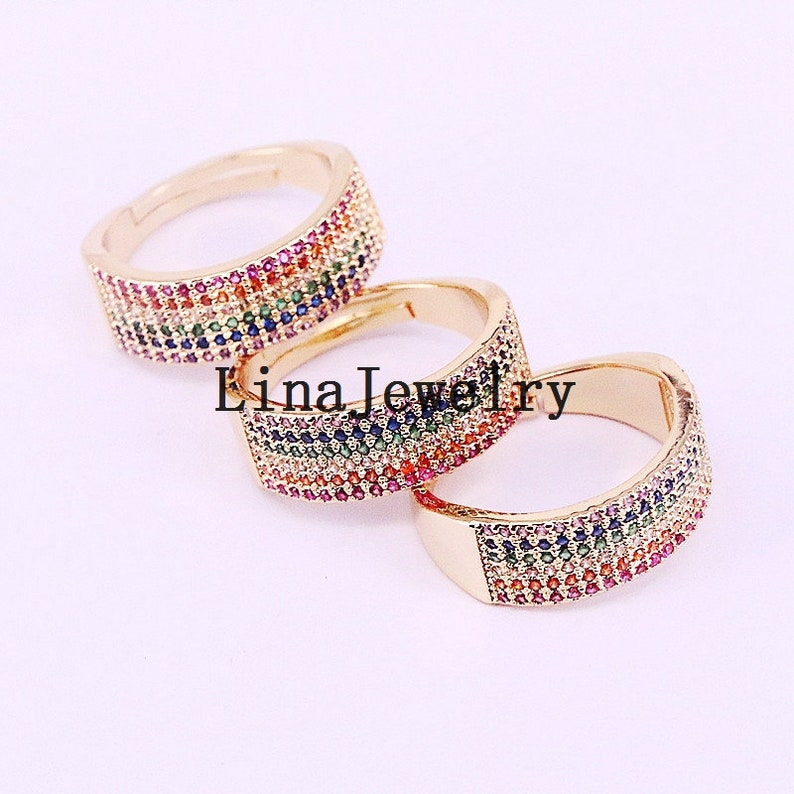 5Pcs fashion trendy Gold Color Cubic Zirconia micro pave colorful cz engagement band women charm ring jewelry gift