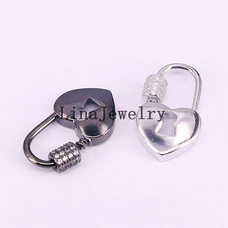 Rose Gold Black 8Pcs CZ Micro Pave Heart Shaped Lock Clasps Gold Necklace and Bracelet Links Silver Findings