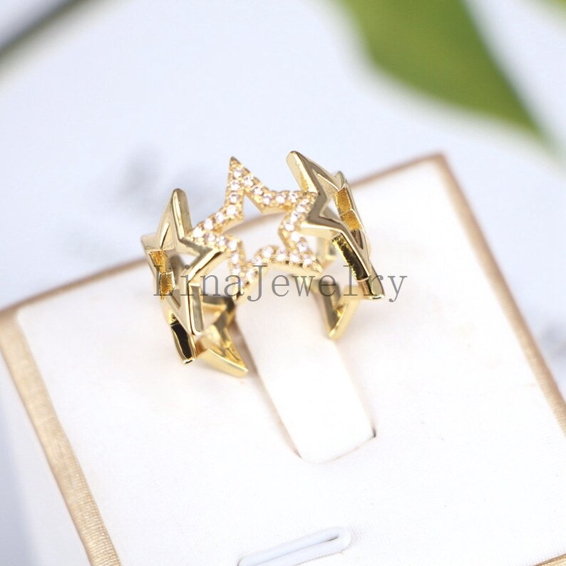 10Pcs Fashion clear cz ring adjustable plated Star cubic zircon ring,popular jewelry Women