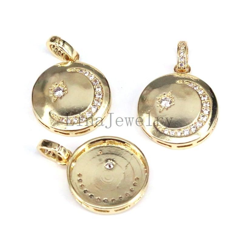 8Pcs Fashion Gold Color CZ Wedding Jewelry Femme Moon Star Unique Design Pendant Necklace For Women Girl