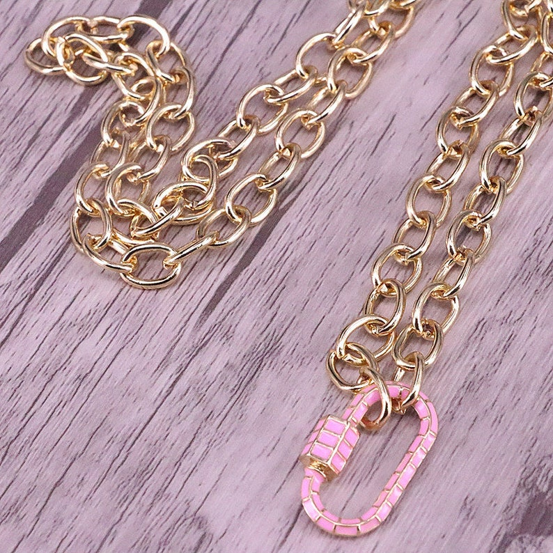 35Pcs Mix Color Enamel Screw Clasp Necklace Oval Carabiner Lock Necklace Gold Chain Necklace