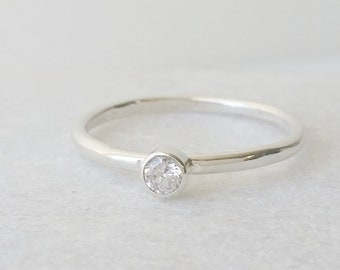 Sterling Silver Dainty CZ Ring - Stone Set Ring - Cubic Zirconia Ring - Stackable Ring -