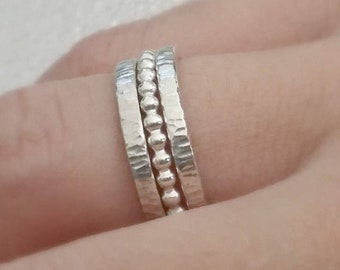 Silver rings. Stackable Rings.  Sterling Silver Ring. Stackable set of 3. Coin and beaded rings. Jewellery, Rings, Stackable Rings.