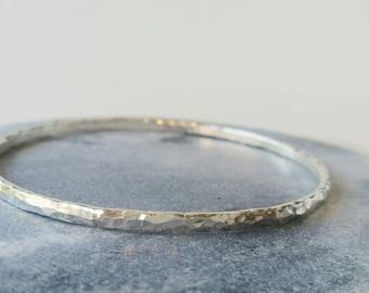 Silver Bangle - Sterling Silver Bracelet - Bangle - Hammered bangle - Handmade jewellery.