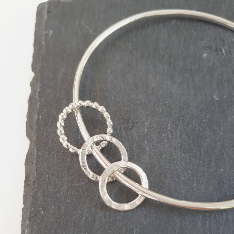 Silver bangle with hammered and beaded  rings. Silver Bangle Sterling Silver Bracelet Smooth Bangle round