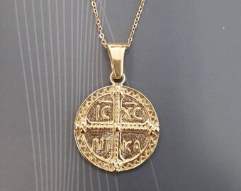 gold greek coin necklace, greek christian byzantine symbol, with cross, gold vermeil, 925 sterling silver