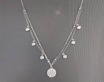 long silver chain 90cm with white bezel zircons and  discs 925 sterling silver