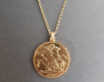 St george necklace etsy st george of england pound coin pendant gold vermeil 925 sterling silver aloadofball Image collections