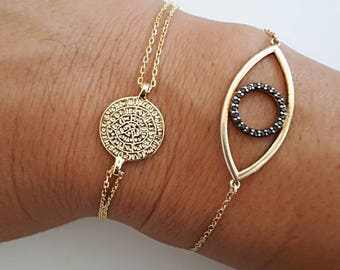 greek phaistos disc chain bracelet, in three colors, 925 sterling silver