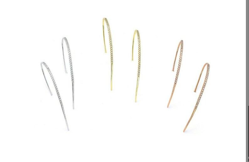 various colors 925 sterling silver white zircons long curvy hook spike earrings