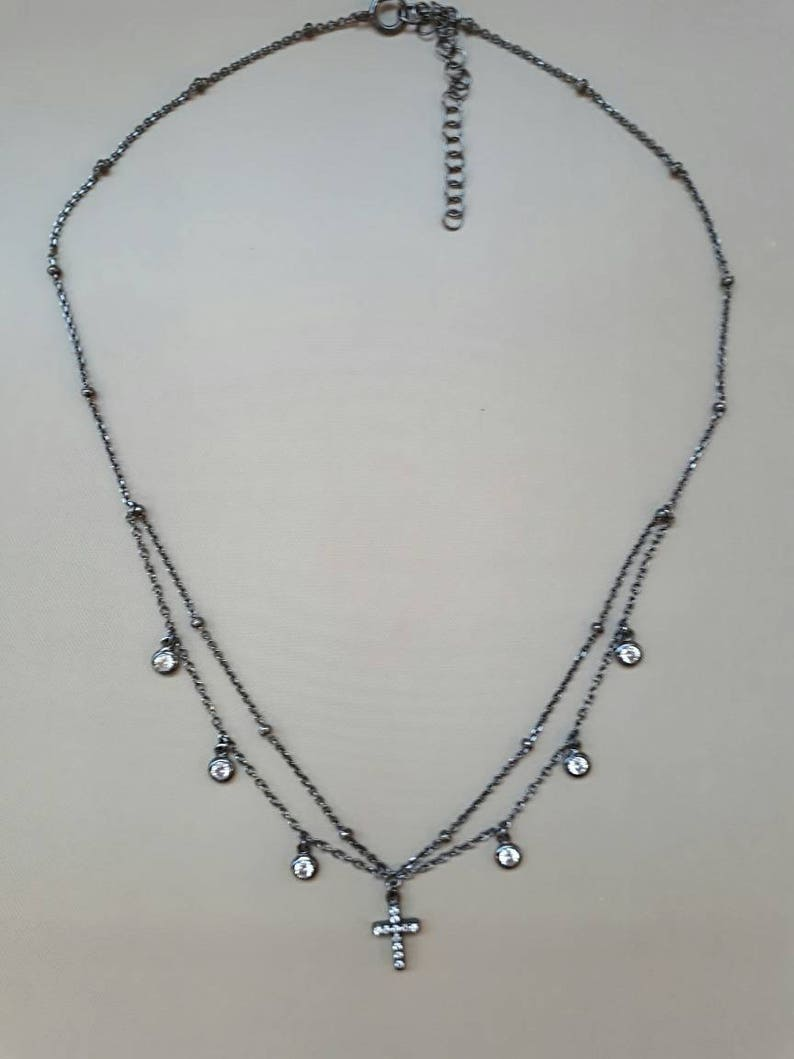 925 sterling silver with round bezel dangling zircons four finishes cross choker necklace