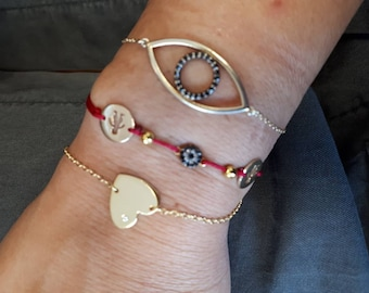 heart bracelet with single white zircon, gold or silver, 925 sterling silver