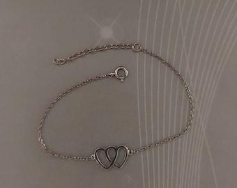 Black rhodium interlocked hearts dainty bracelet, 100% 925 sterling silver.