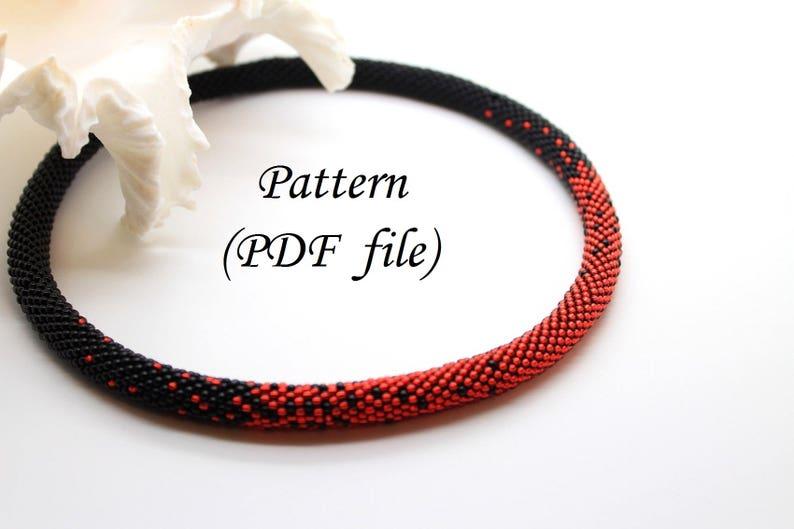 Beading Tutorial Tubular Bead Pattern Choker Pattern Beaded Rope Crochet Bead Rope Downloadable Pattern Bead Crochet Pattern Red/&Black