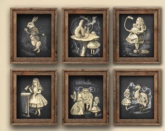 Alice in Wonderland Wall Decor Set of 6 Unframed Nursery Wall Art Nursery Decor, girls room decor