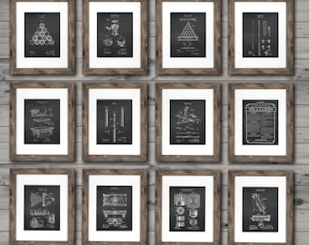 Billiards Pool Room Decor Set of 12 unframed Patent wall Art