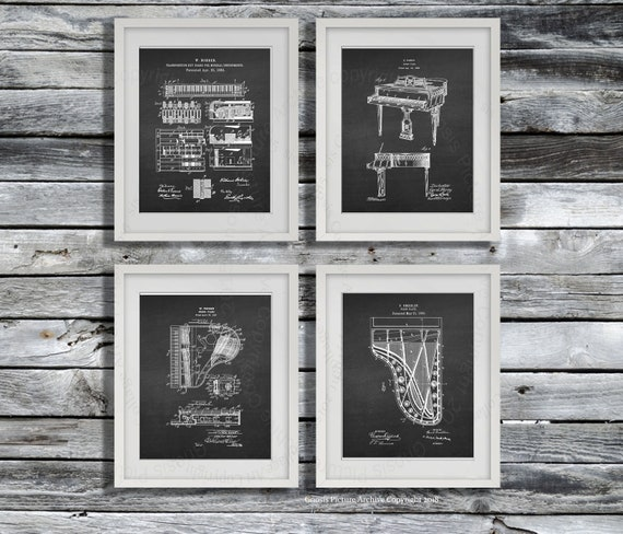 Piano Music Room Decor Set of 4 Piano patent art prints - Great musician  gift and piano teacher gift ideas