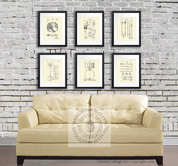 Vintage Drums Patent Art Prints Cream Wall Art set of 6 patent | Etsy