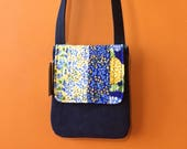 Quilted Cross Body Bag - Patchwork Quilted Purse - Small Messenger Bag - Flowers - Small Size
