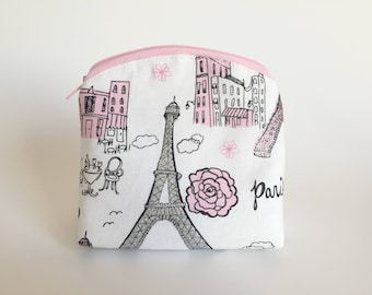 Mini-Cosmetic Bag - Zippered Mini-Pouch - Paris Makeup Bag - Eiffel Tower Cosmetic Bag - Small Size