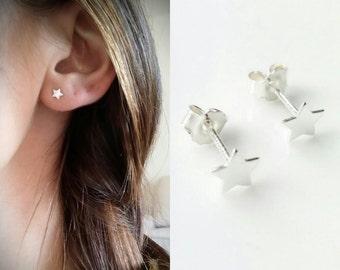 Silver star earrings 925/000 - silver star chips 925/000 - star earrings 925 silver sterling