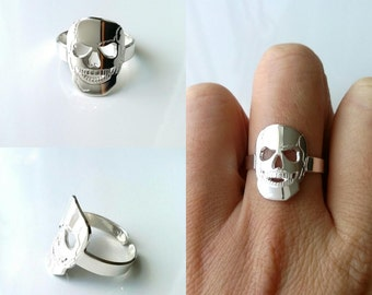 Skull ring, Silver 925/000 - adjustable size - silver 925