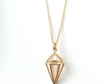 Gold 750/000 - circle geometric necklace, pendulum, minimalist necklace gold plated 18 k - pendulum necklace, 750 gold plated