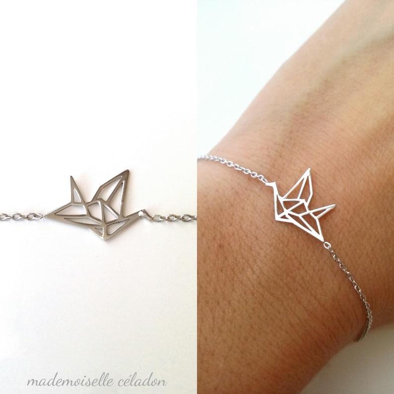 Silver bracelet 925/000  Origami pattern bracelet bird  image 0