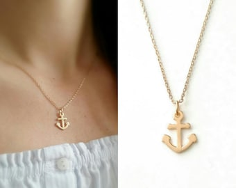 750/000 gold-plated marine anchor necklace, gold anchor pendant, gold-plated 18 carat gold - Marine anchor 750 gold plated necklace