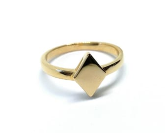 Gold-plated geometric ring 750/000, Rhombus, square, ring ring minimalist - Minimalist gold plated 18 k ring, geometric ring