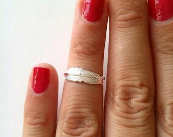 Falange di anello piuma d'argento 925, l'estremità dell'anello falange dito - anello modello piuma, misura regolabile - 925 piuma d'argento sterlina