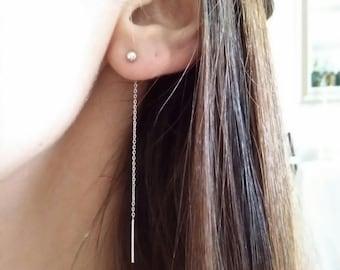 Silver chain earrings 925 - Silver earrings 925/000 dangling - 925 silver earrings