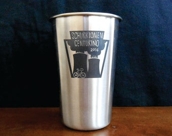 Personalized Stainless Steel Pint Glass, Custom Laser Engraved 16 oz Pint Glass, Wedding Party and Groomsman Gift, Bulk Pint Glasses