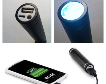 Personalized Power Bank Flashlight - Engraved Flashlight, Personalized Portable Power Bank, Portable Phone Charger, Personalized Gift