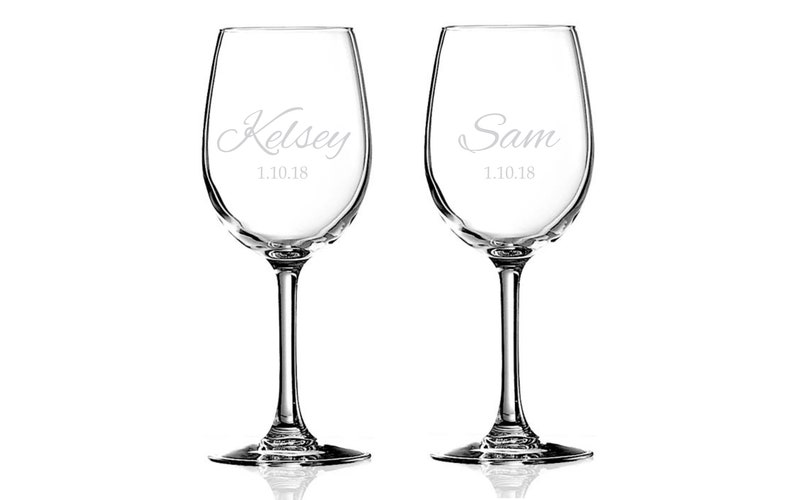 Personalized Wine Glasses for Newly Married Couple