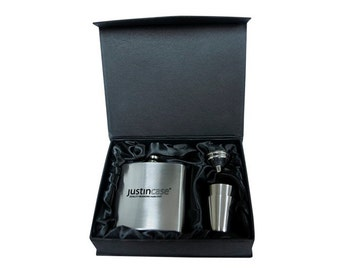 SALE - Personalized Stainless Steel Flask Set - With Shot Glasses - Laser Engraving - Wedding - Groomsman or Bridesmaid Gift