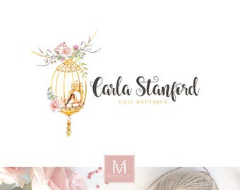 bird cage logo design, Boutique logo, floral logo, decor logo, wedding logo, events logo, artisan logo, watercolor logo, shabby chic logo