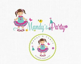 Premade Party Logo Design Photography Logo Boutique Logo Children Party Logo Girl Logo