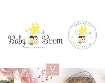 Kids Logo, Boutique logo, decor logo, party logo, artisan logo, baby logo, photography logo, boy logo, girl logo, stamp logo