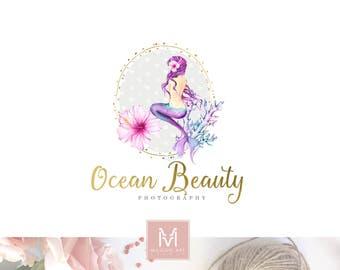 Mermaid Logo, Sea Logo, Girl Logo, Stamp logo, Photography Logo, Artisan Logo, Logo Design, Watercolor Logo