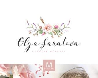 Rose Logo ,Floral Logo ,Romantic Logo, Watercolor Logo, Artisan Logo, Photography Logo, Boutique Logo ,Shabby Chic Logo, Watermark