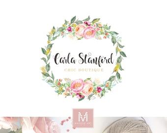 Floral logo design, Boutique logo, floral logo, decor logo, wedding logo, events logo, artisan logo, watercolor logo, shabby chic logo