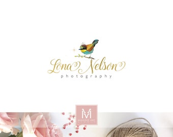Bird Logo, Vintage Logo,Decor Design, Romantic Logo ,Shabby Chic Logo ,Boutique Logo ,gold foil logo, watermark