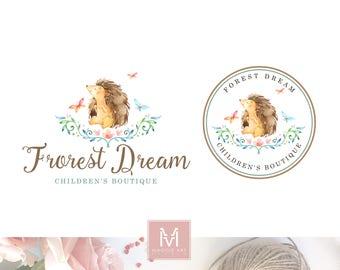 Hedgehog Logo, Kids Logo, Forest logo, animal Logo, Baby logo, Boutique Logo, stamp logo, Artisan Logo, Decor Logo, Watercolor logo