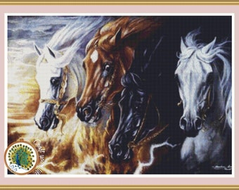 Chart Counted Cross Stitch Pattern Needlework Four Horses Of The Apocalypse