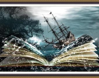 Tales of the Sea Sunken Ship Sea  Cross Stitch Pattern Embroidery  pattern chart Counted cross stitch pattern PDF DMC