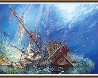 Sunken Ship Sea  Cross Stitch Pattern Embroidery  pattern chart Counted cross stitch pattern PDF DMC
