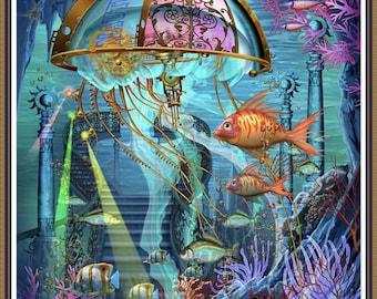 Undersea Life Sunken Ship Sea  Cross Stitch Pattern Embroidery  pattern chart Counted cross stitch pattern PDF DMC